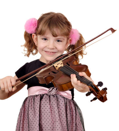 beautiful little girl play music on violin photo