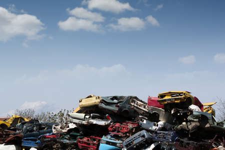 dump yard: junk yard with old cars and wreck