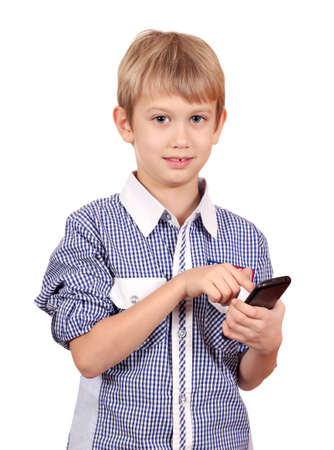 boy dials on the smart phone Stock Photo - 18000171