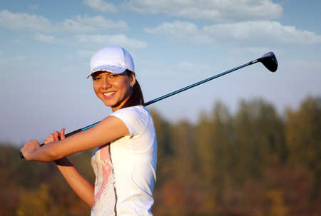 beautiful girl golf player portrait photo