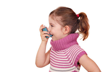 little girl with inhaler on white photo