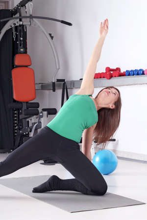 girl trains fitness exercise healthy lifestyle photo