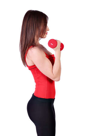 fitness girl exercise with dumbbells photo