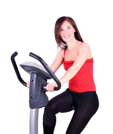 girl exercise with fitness cross trainer photo