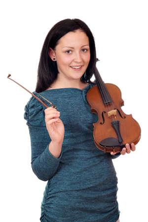 beautiful teenage girl with violin portrait on white Stock Photo - 18461198
