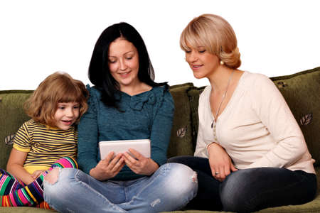 family three generation play with tablet pc Stock Photo - 18521345