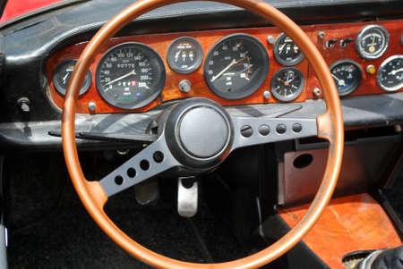 steering wheel interior of old vintage car photo