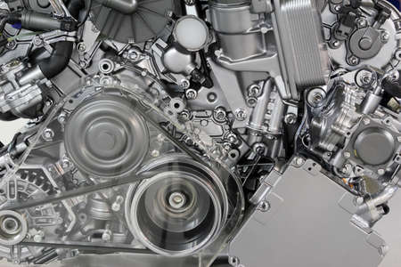 diesel generator: car engine belt and gears detail Stock Photo