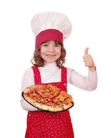 happy little girl cook with pizza photo