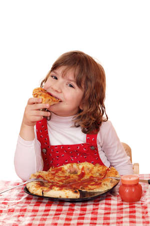 hungry little girl eat pizza photo