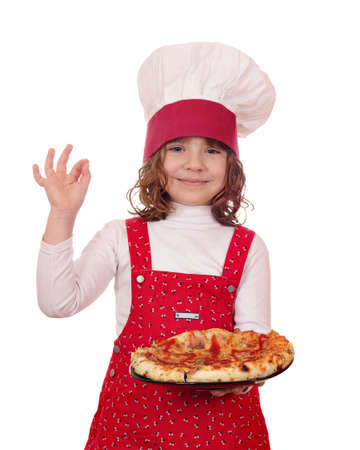 beautiful little girl cook with pizza photo