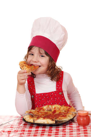 hungry little girl cook eat pizza