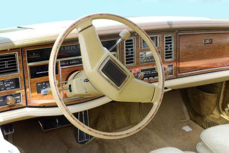 oldtimer car dashboard and steering wheel vintage photo