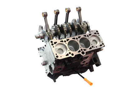 car engine and pistons isolated Standard-Bild
