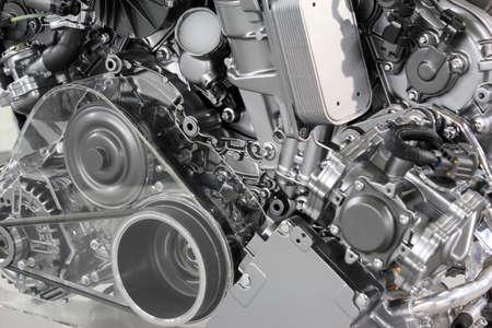 maquinaria pesada: potente motor de coche nueva tecnolog�a Foto de archivo
