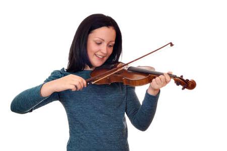 teenage girl play violin on white  Stock Photo - 19061663