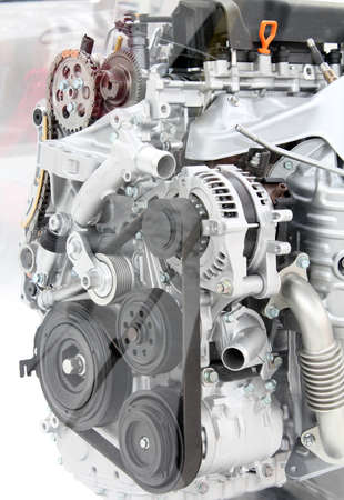 front view car engine detail photo