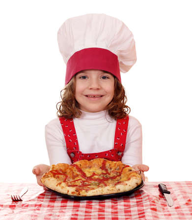 beautiful happy little girl with pizza photo