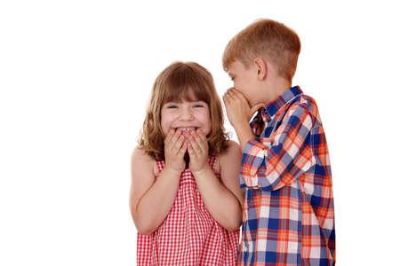 boy whispered little girl funny story