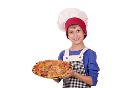 happy boy chef with pizza photo