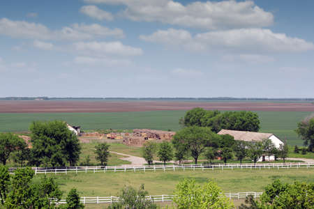 corral: farmland with horse corral landscape