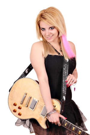 glam rock: teenage girl with electric guitar