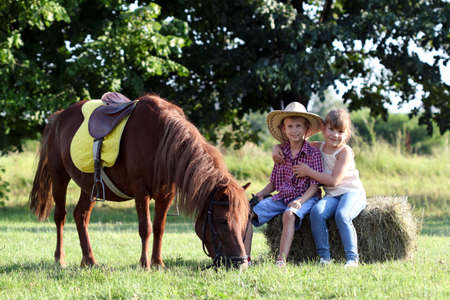 happy little girl and boy with pony horse