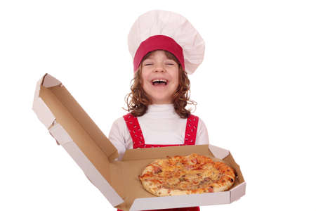 beautiful happy little girl cook hold box with pizza photo