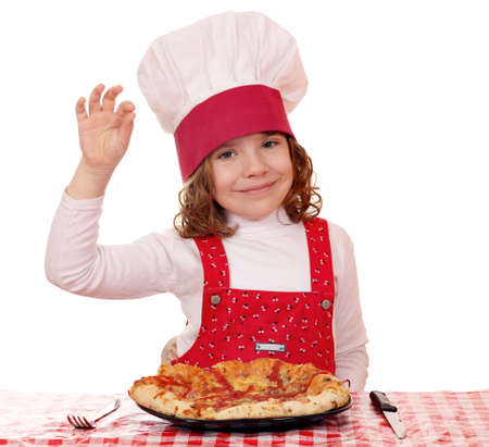 little girl cook with pizza and ok hand sign photo