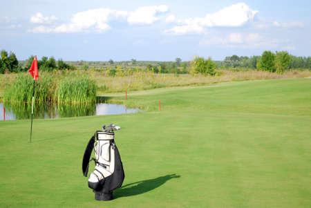 white golf bag on golf course Stock Photo - 23743388