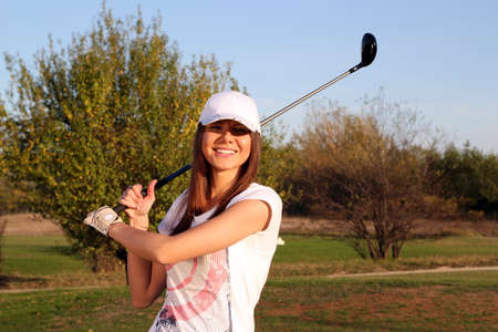 happy girl golf player portrait photo