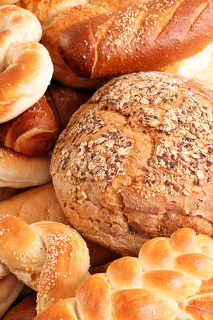 close up food: bread and buns close up food background  Stock Photo