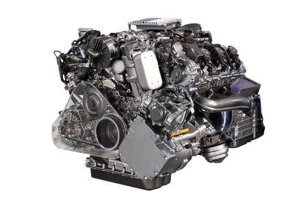 v6 car hybrid engine isolated on white photo