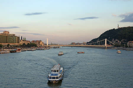 twilight over Danube river Budapest photo