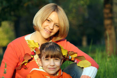 september 2: mother and daughter portrait autumn season Stock Photo