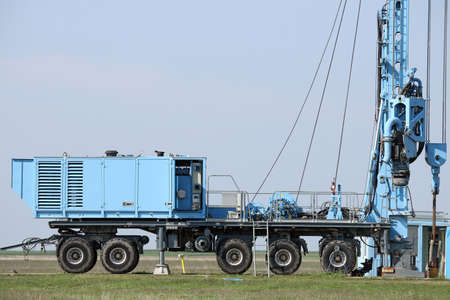 oil exploration: geology and oil exploration mobile drilling rig vehicle