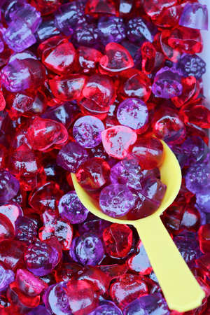 red and purple sweet gummy closeup