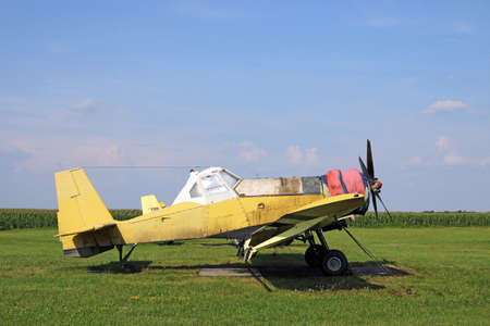 crop duster airplane on airfield photo