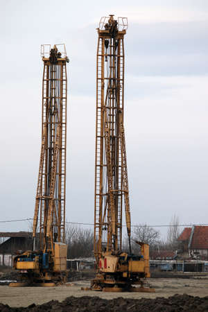 boring rig: construction site with hydraulic drilling machines
