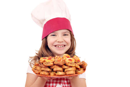 happy little girl cook with bruschette photo