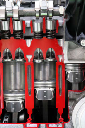 pistons: pistons and valves car engine detail