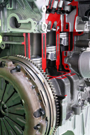 pistones: pistones y v�lvulas para motores de autom�viles de cerca Foto de archivo