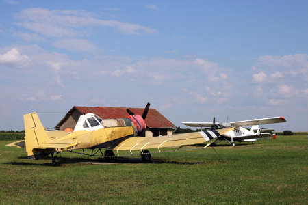 duster: crop duster airplanes on airfield