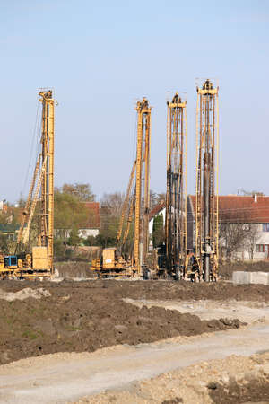 boring rig: hydraulic drilling machines on construction site