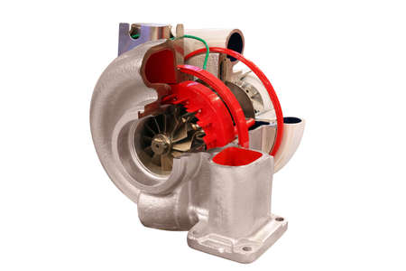 turbocharger: car turbo charger isolated on white Stock Photo
