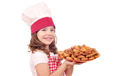 little girl cook with bruschette photo