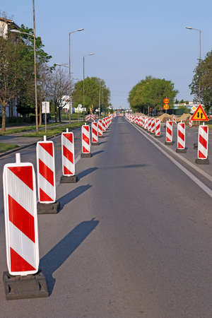 roadwork: roadwork signs on street road construction Stock Photo