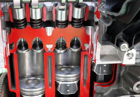 pistons: car engine pistons and valves detail