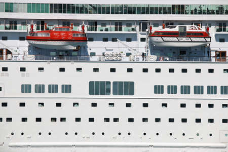 lifeboats: large cruiser ship with lifeboats detail