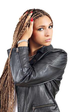 rastas: hermosa chica con rastas retrato de pelo
